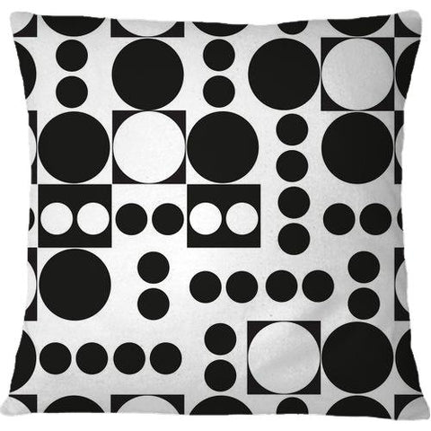 Cojín Exaggerated Dots and Circle Black White