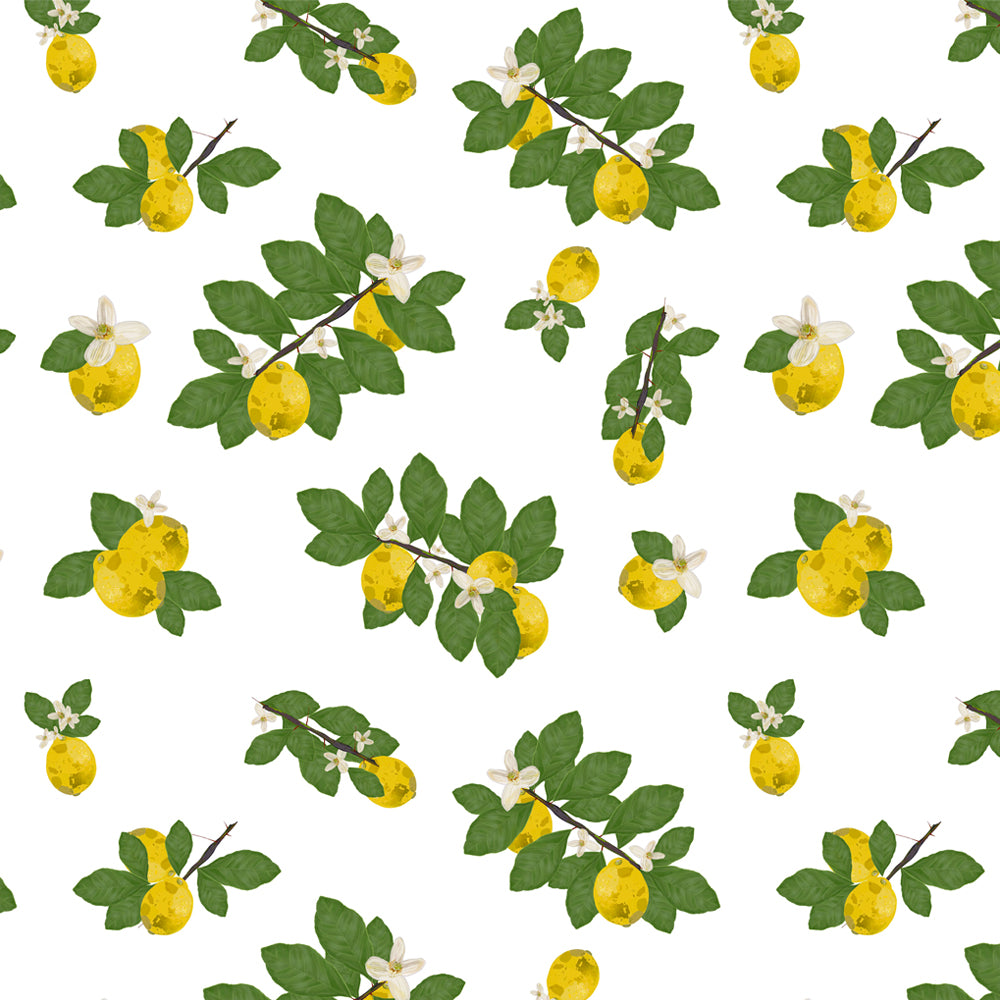 Mantel de Hule Lemon Tree and Lemon Flowers Pattern