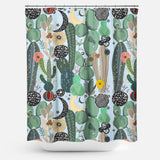 Cortina de Baño Succulents, moon and stars pattern