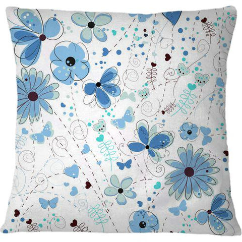 Cojín Abstract Blue Flowers Hand Drawn Elegant