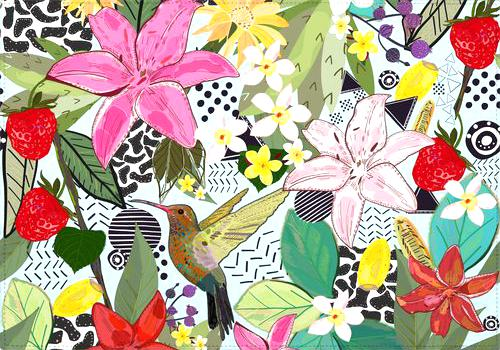 Individual Tropical pattern with humming bird