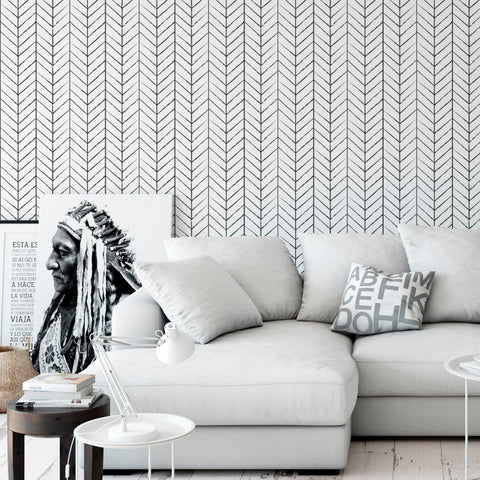 Papel Mural Lineas Chevron Black