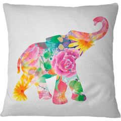 Cojín Watercolor Floral Elephant