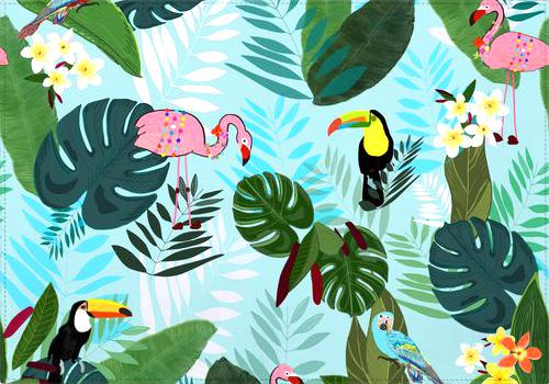 Individual Tropical Leaves With Flamingo, Toucan