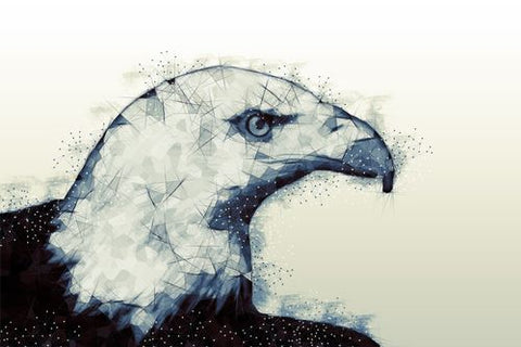 Canvas Polygonal Bald Eagle