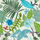 Canvas Hand drawn tropical leaves and hibiscus