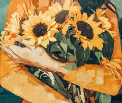 Canvas Holding Sunflowers