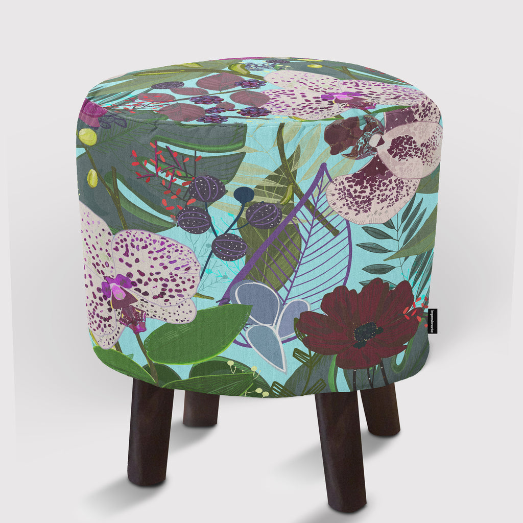Pouf Orchid and Cosmos Flower Botanical Floral Pattern