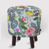 Pouf Succulent, Cactus and Colorful Flowers Pattern.