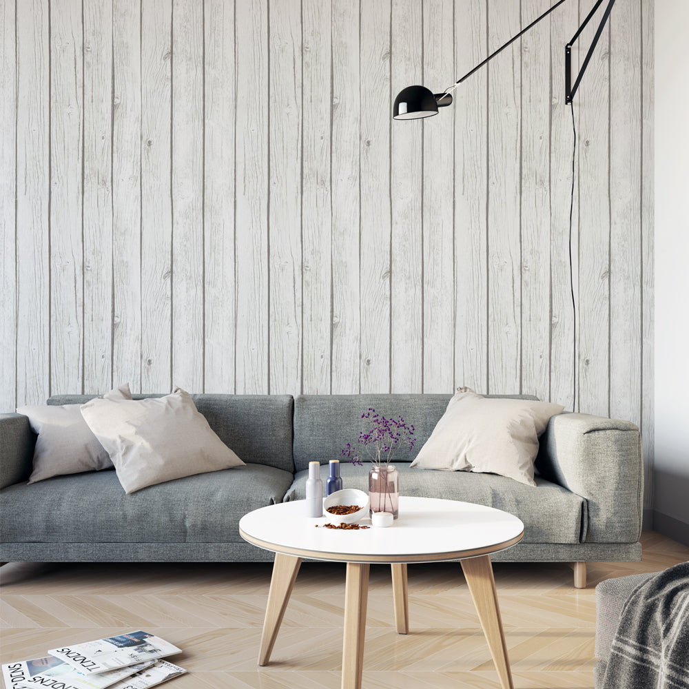 Papel Mural White Wood