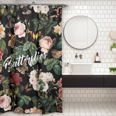 Cortina de Baño Butterflies and Floral Pattern
