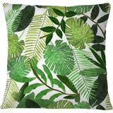 Cojín Green Tropical Watercolor Leaves Pattern
