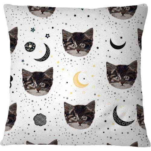 Cojín Cute Cats and Space Pattern