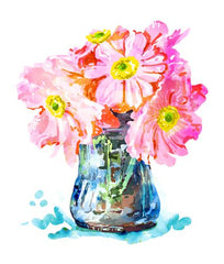 Canvas Watercolor Flower Pot