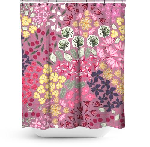 Cortina de Baño 444-Ditsy summer flowers with cherry pat