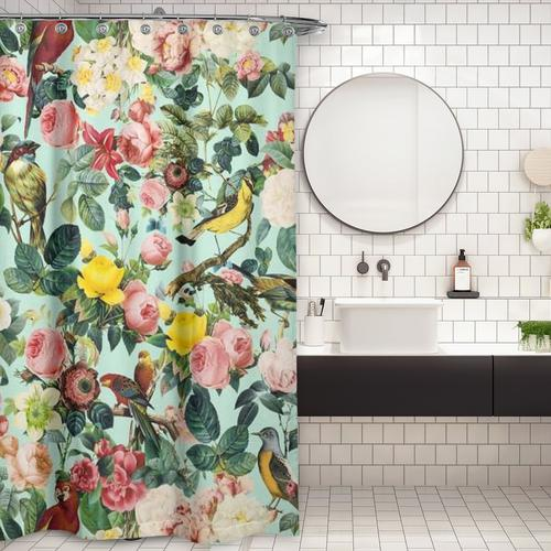 Cortina de Baño Floral and Bird III