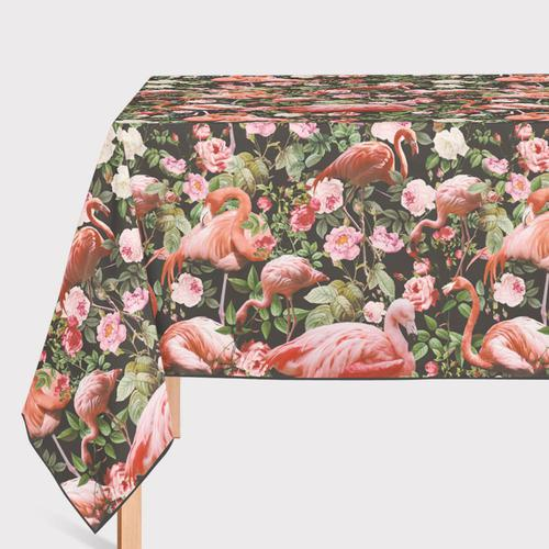 Mantel de Hule Floral and Flamingo Pattern