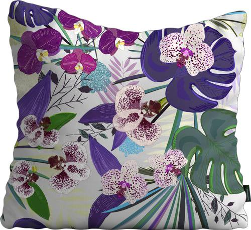 Cojín de Piso Orchid and Purple Green Tropical pattern