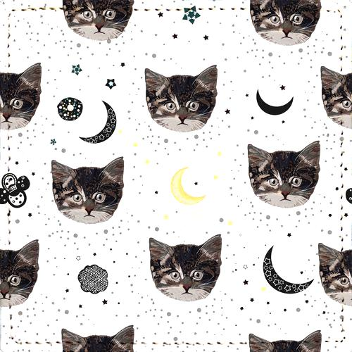 Posavaso Cute Cats and Space Pattern