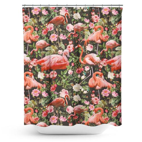 Cortina de baño Floral and Flamingo Pattern
