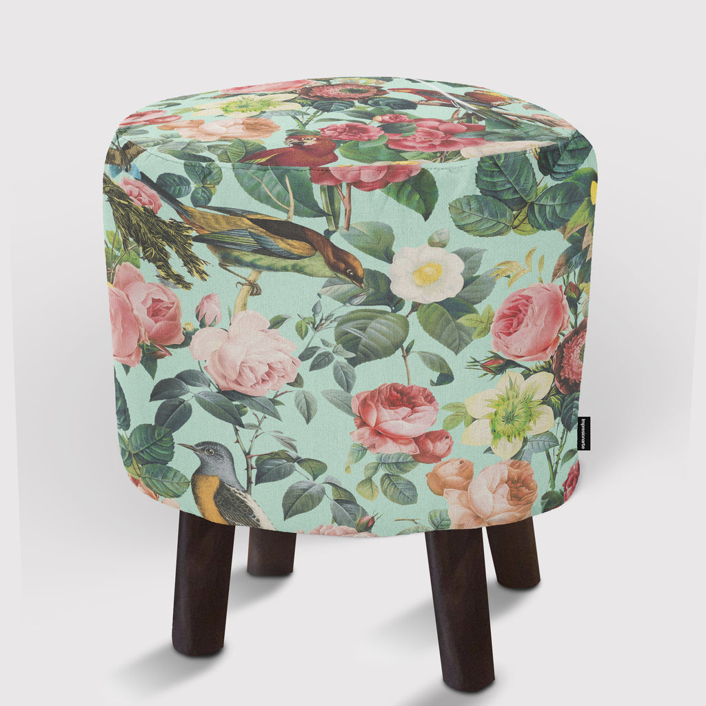 Pouf Floral and Birds III