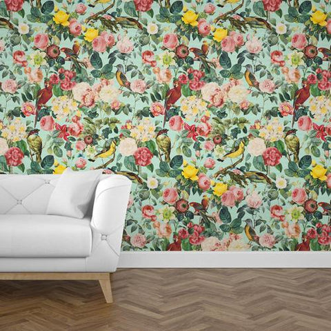 Papel Mural Pattern Floral and Birds III