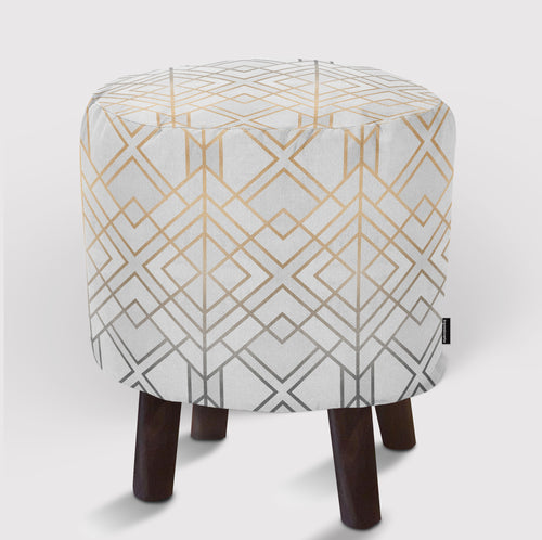 Pouf Gold And Grey Geo