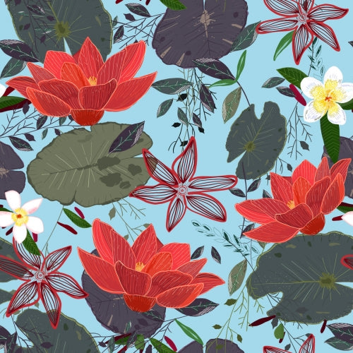 Canvas Lotus Flowers and frangipani floral pattern