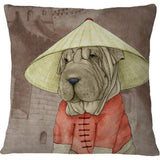 Cojin Sharpei With The Great Wall - Galeria Impresionarte