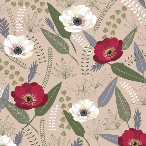 Canvas Anemones & palms pink
