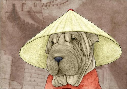Individuales Sharpei With The Great Wall - Galeria Impresionarte