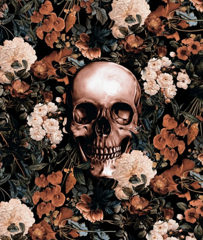 Canvas Floral and Skull II