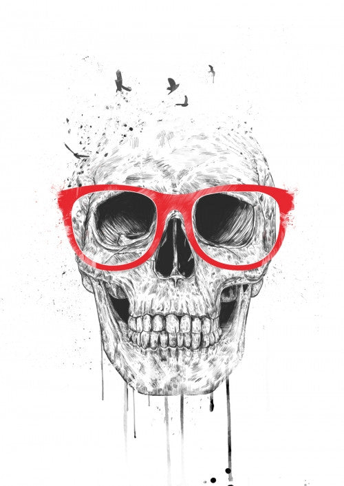 Canvas Skull with red glasses