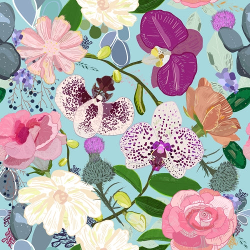 Canvas Orchid, succulent and roses colorful pattern