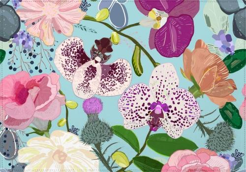 Individual Orchid, succulent and roses colorful pattern