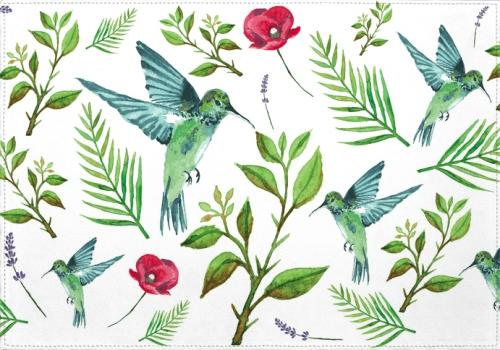 Individuales Leave, Birds and Flowers