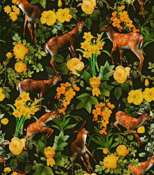 Canvas Deer and Floral Pattern