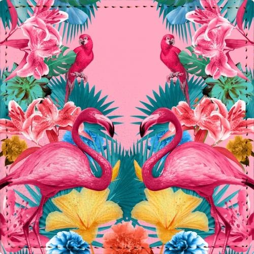 Posavasos Flamingo and Tropical Garden - Galeria Impresionarte