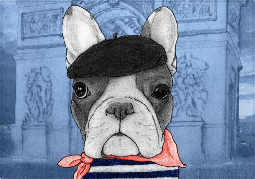 Individuales French Bulldog With Arc De Triomphe