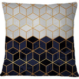 Cojin White And Navy Cubes - Galeria Impresionarte