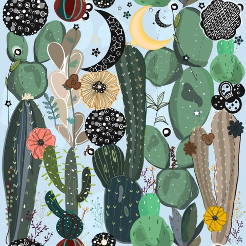 Canvas Succulents, moon and stars pattern