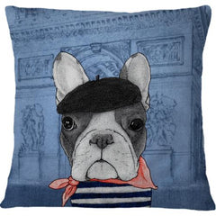 Cojin French Bulldog With Arc De Triomphe - Galeria Impresionarte