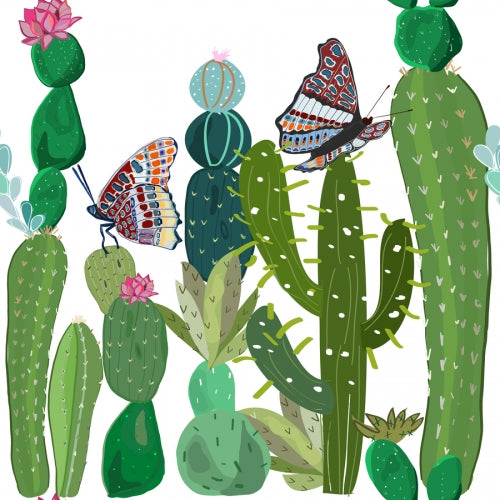 Canvas Cactus, succulents and butterflies tropical patter