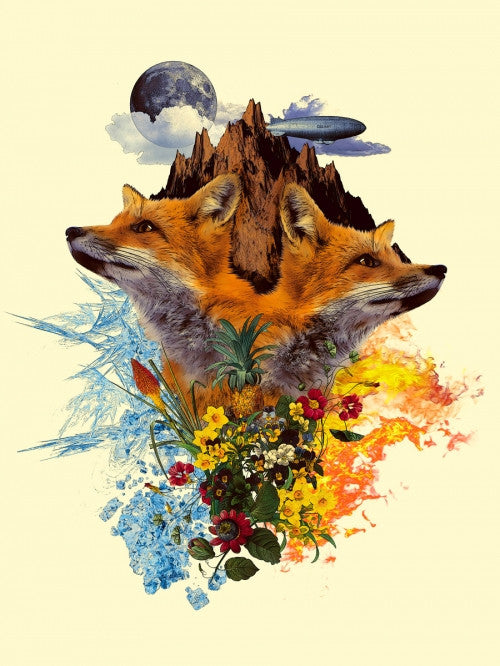 Canvas Fox and Floral