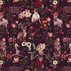 Posavasos Floral and Cats Pattern - Galeria Impresionarte