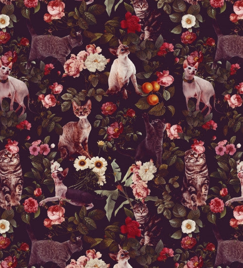 Canvas Floral and Cats Pattern