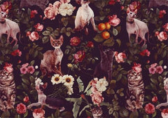 Individuales Floral and Cats Pattern - Galeria Impresionarte