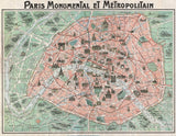 Canvas Plano ilustrado de Paris en 1932