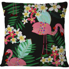 Cojin Tropical Pattern With Frangipani and Flamingo