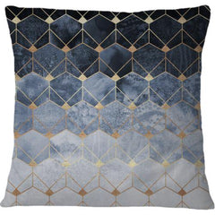 Cojin Blue Hexagons And Diamonds - Galeria Impresionarte